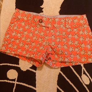 Cute Red Camel Orange Shorts with Turtles Size 3